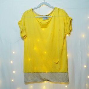 Michael Stars Yellow Layered Linen Tee